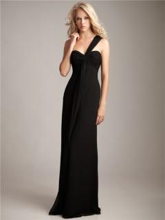 Formal sweetheart one shoulder floor length long black chiffon bridesmaid dress