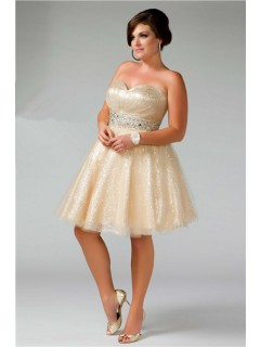 Glamorous Ball Gown Strapless Short/ Mini Shimmer Nude Sequins Plus Size Prom Dress