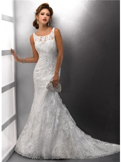Gorgeous Mermaid Straps Lace Wedding Dress With Sequins Buttons