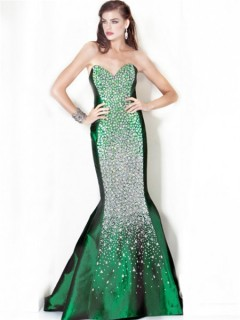 Gorgeous Mermaid Sweetheart Long Emerald Green Taffeta Beaded Evening Dress