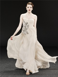 Gorgeous One Shoulder Long Champagne Chiffon Beaded Sequins Evening Dress