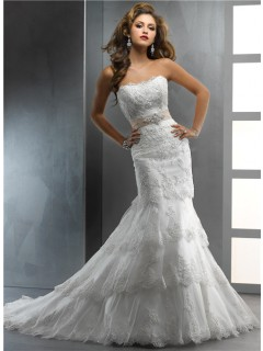 Gorgeous Trumpet/ Mermaid Strapless Tiered Beaded Lace Wedding Dress With Crystal Belt