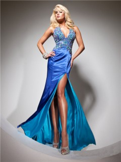 Halter V Neck Long Royal Blue Silk Beading Prom Dress With Open Back Slit