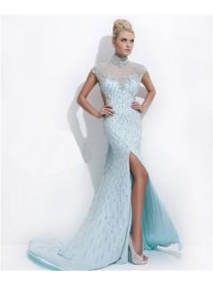 High Neck Cap Sleeve Backless Long Baby Blue Chiffon Beaded Evening Prom Dress Open Back