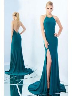 High Neck Halter Beaded Trim Backless Side Slit Teal Jersey Evening Prom Dress