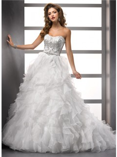 Luxurious Ball Gown Strapless Organza Ruffle Wedding Dress With Beading Swarovski Crystal