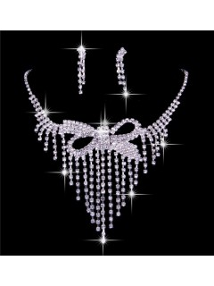 Luxurious Shining Rhinestones Wedding Bridal Jewelry Set,Including Necklace And Earrings