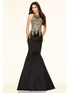 Mermaid High Neck Black Taffeta Gold Lace Applique Prom Dress