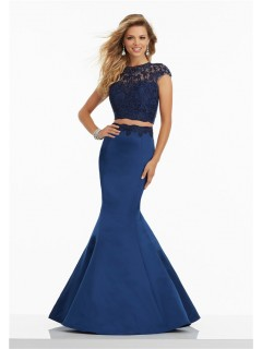 Mermaid High Neck Cap Sleeve Two Piece Navy Satin Embroidery Prom Dress Lace Up Back