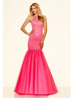 Mermaid High Neck Hot Pink Tulle Beaded Prom Dress With Buttons