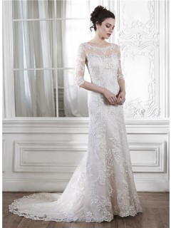 Mermaid Illusion Neckine V Back 3 4 Sleeve Lace Wedding Dress