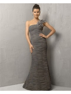 Mermaid One Shoulder Long Grey Chiffon Pleated Evening Wear Dress With Flowers