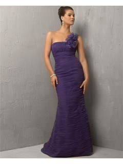 Mermaid One Shoulder Long Lavender Purple Chiffon Evening Dress With Flowers