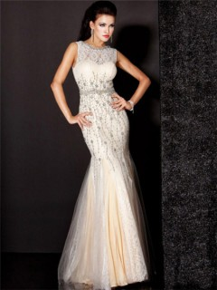Mermaid Sleeveless Long Champagne Nude Tulle Lace Beading Evening Dress