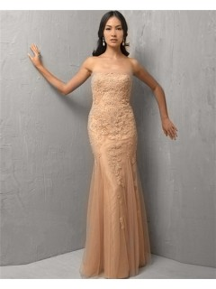 Mermaid Strapless Long Champagne Tulle Lace Evening Wear Dress