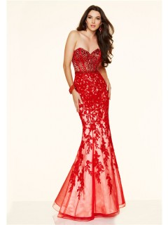 Mermaid Strapless Sweetheart Low Back Red Lace Applique Beaded Prom Dress