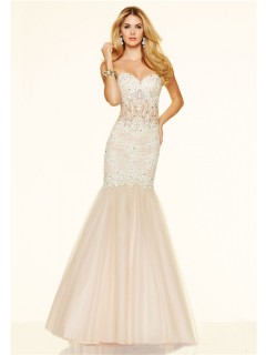Mermaid Strapless Sweetheart See Through Champagne Tulle Lace Beaded Prom Dress