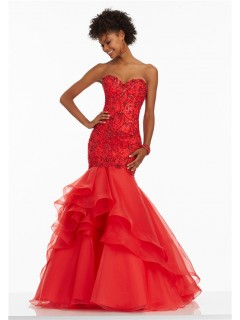 Mermaid Sweetheart Corset Back Red Organza Ruffle Beaded Prom Dress