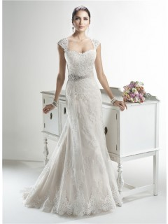 Mermaid Sweetheart Detachable Cap Sleeve Lace Wedding Dress With Crystals Sash