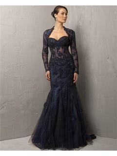 Mermaid Sweetheart Long Navy Blue Lace Beaded Evening Dress With Bolero Jacket