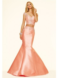 Mermaid Two Piece Cap Sleeve Light Coral Taffeta Beaded Evening Prom Dress