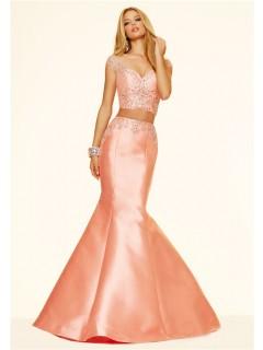 Mermaid Two Piece Cap Sleeve Light Coral Taffeta Beaded Evening Prom Dress