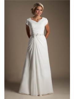 Modest A Line Cap Sleeve Chiffon Ruched Wedding Dress Beading Belt