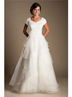 Modest A Line Cap Sleeve Organza Ruffle Layered Wedding Dress With Flower