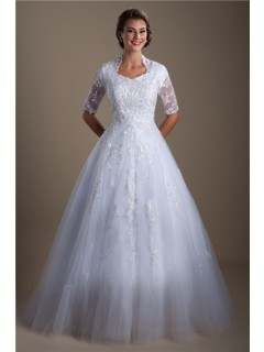 Modest A Line High Back Short Sleeve Lace Beaded Wedding Dress With Buttons
