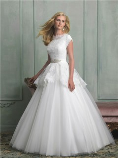 Modest A Line High Neck Cap Sleeve Lace Tulle Peplum Wedding Dress With Crystal Belt