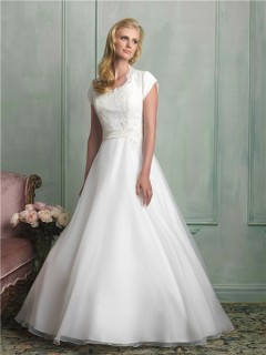 Modest A Line Scalloped Neck Cap Sleeve Lace Organza Wedding Dress With Sash Buttons