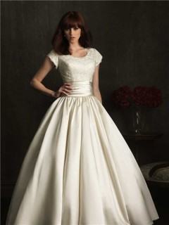 Modest Ball Gown Scoop Neck Cap Sleeve Lace Satin Ruched Wedding Dress With Buttons
