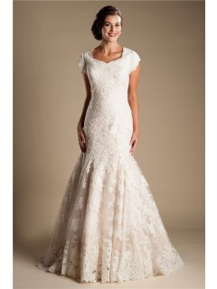 Modest Mermaid Cap Sleeve Champagne Color Lace Wedding Dress With Tiered Train