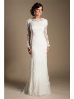 Modest Mermaid High Neck Long Sleeve Vintage Lace Wedding Dress Sweep Train