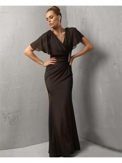 Modest Mermaid Long Black Chiffon Evening Wear Dress With Shawl