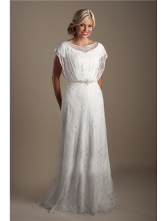 Modest Sheath Illusion Neckline Lace Sparkly Wedding Dress With Sleeves