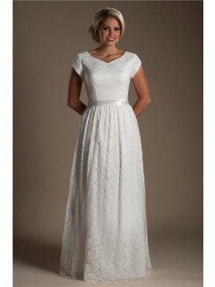 Modest Sheath V Neck Cap Sleeve Lace Destination Wedding Dress Without Train