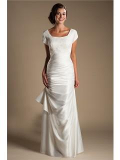 Modest Square Neck Cap Sleeve Silk Satin Ruched Wedding Dress