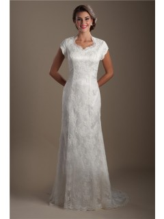 Modest Trumpet Mermaid Queen Anne Neckline Cap Sleeve Lace Wedding Dress