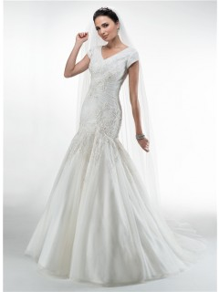 Modest Trumpet Mermaid V Neck Short Sleeve Tulle Applique Wedding Dress