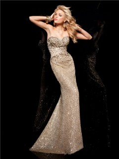 New Slim Sweetheart Long Gold Sequined Beaded Evening Prom Dress With Train