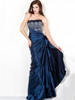 Perfect A Line Strapless Long Navy Blue Ruched Taffeta Beaded Evening Wear Dress