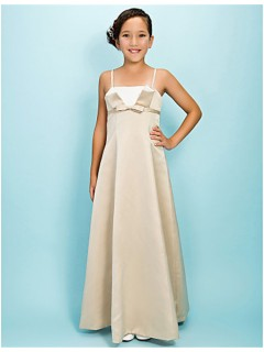 Pretty A line Spaghetti Strap Long Champagne Satin Junior Bridesmaid Dress