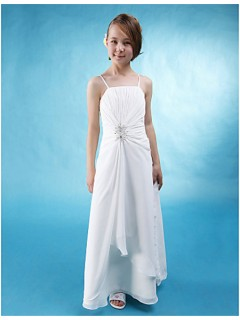 Pretty A line Spaghetti Strap Long White Chiffon Junior Bridesmaid Dress
