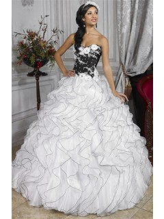 Pretty Ball Gown Black and White Organza Quinceanera Dress With Beading Ruffles