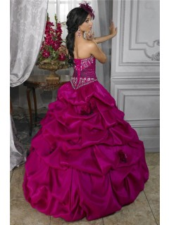 Pretty Ball Gown Fuchsia Taffeta Quinceanera Dress With Embroidered Beading