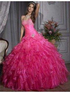 Pretty Ball Gown Hot Pink Organza Quinceanera Dress With Beading Ruffles