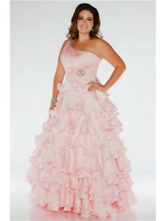 Pretty Ball Gown One Shoulder Long Blush Pink Silk Ruffles Plus Size Prom Dress