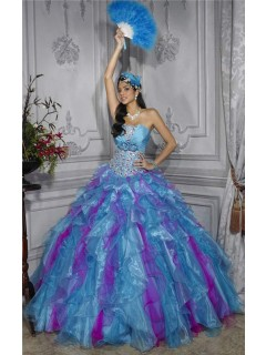 Pretty Ball Gown Purple Blue Organza Quinceanera Dress With Beading Ruffles