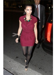 Pretty Cap Sleeve Short Pleated Kim Kardashian Red Dress